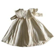 Vintage White Cotton Dolls Dress - Lace Trim Collar
