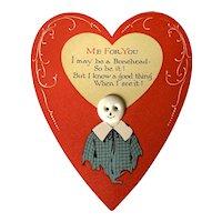 Vintage Valentine Card -  Button Headed Boy
