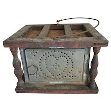 18th Century Heart Shaped Punched Tin Foot Warmer