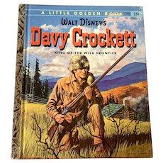 "1955 Vintage Little Golden Book - Walt Disney's Davy Crockett - First Edition ""A"""