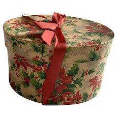 Vintage Oval Christmas Box - Poinsettias - Red Silk Ribbon