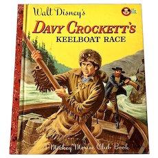 1955 Vintage Little Golden Book - Walt Disney's Davy Crockett Keelboat Race - A