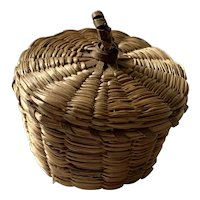 Vintage Small Covered Sweet Grass Basket