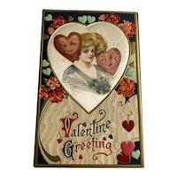 John Winsch - Samuel Schmucker Valentine Postcard - Pretty Woman - Hearts - Silk