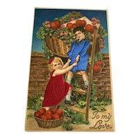 Real Silk Valentine Postcard - Boy & Girl with Huge Basket Of Hearts