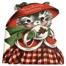 Adorable Vintage Die Cut Norcross Christmas Card - Kitten In Plaid