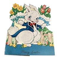 Vintage Die Cut Easter Card - Rabbit With Flower Pots