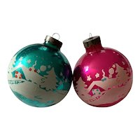 2 Vintage Large Glass Christmas Ornaments - Snowy House