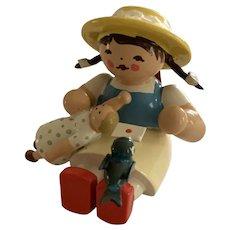 German Erzgebirge Wendt & Kuhn Miniature Figure - Sitting Girl , Doll , Bird