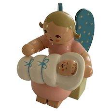 German Erzgebirge Wendt & Kuhn Miniature Figure  - Sitting Angel Holding Baby