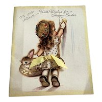 Vintage Rust Craft Easter Card - Girl In Easter Finery - Ribbon - Unused