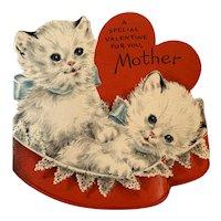 Vintage Hallmark Valentine For Mother - Two White Kittens - Glitter
