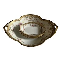 Hand Painted Nippon Nut Set - Roses
