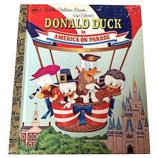 1976 Little Golden Book - Walt Disney's Donald Duck In America On Parade