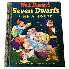 """1952 Little Golden Book - First Edition """"A"""" - Walt Disney's Seven Dwarfs Find A House"""