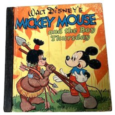 1948 Whitman Publishing Co . Walt Disney Children's Book - Mickey Mouse & The Boy Thursday