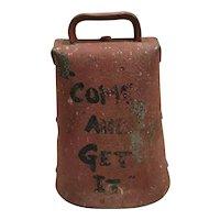 Vintage - Blacksmith made Iron Cowbell / Dinner Bell