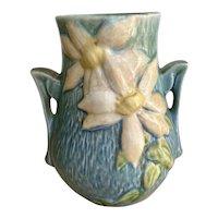 Roseville Pottery - Blue Clematis Vase w/Double Handles