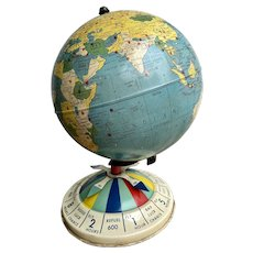 Antique Tin World Magnetic Air Race Game Globe