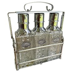 Mid-Century Decanter Set - Chrome & Glass
