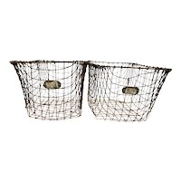 Vintage Metal Mesh Locker Room Basket with Number Plate