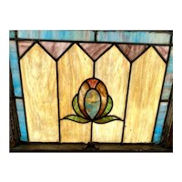 Beautiful Antique Upper & Lower Stained Glass Window Set