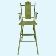 Green Doll High Chair w/floral decals