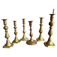 Assorted Antique Brass Candlesticks