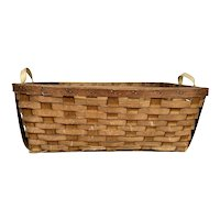 Antique Large Splint Hand Woven Gathering Basket with Canvas Handles