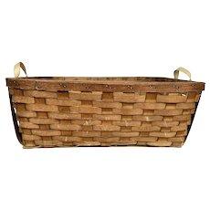 Antique Large Splint Hand Woven Gathering Basket with Canvas Handles