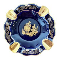 Cobalt Porcelain Limoges Ashtray with 22kt Gold Leaf Accents