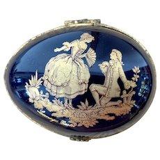 Limoges France Cobalt Blue & Gold Egg Trinket Box