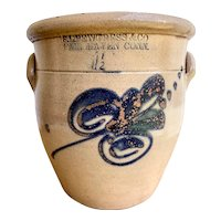 Antique Stoneware 1 1/2 Crock w/Cobalt Floral Design