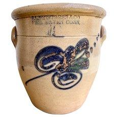 Antique Stoneware 1 1/2 Crock w/Cobalt Floral Design