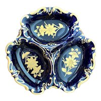 JLMENAU Graf Von Henneberg Echt Kobalt Cobalt Blue 3 Section Dish W/ Handle