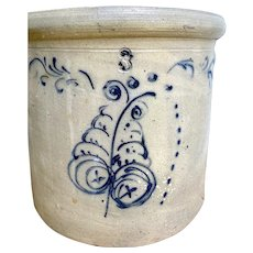 Antique Stoneware Crock 3 Gal Hand Painted Blue Leaf Motif