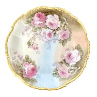 Artist Signed Limoges France Elite Hand Painted Pink Rose Platter