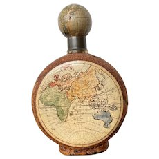 Italian Leather Leather/Glass Decanter with Old World Maps