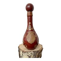 Burgundy Leather with Gold Detail Italian Decanter