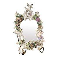 Antique Sitzendorf Porcelain Wall Mirror w/ Cherub & Flowers