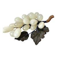Polished Semi-Precious Stone 'Jade' Grape Cluster With Carved Leaves