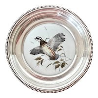 "Frank Whiting Sterling Silver and Porcelain ""Bobwhite Quail"" Coaster"
