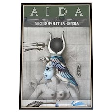 "Original 1978 ""Aida"" Metropolitan Opera Paul Wunderlich Lithograph Print Framed Poster"