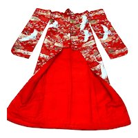 Red Brocade with Flying Cranes Japanese Ceremonial Kimono