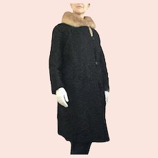 1950s Schiaparelli Persian Lamb Black Wool Mink Fur Collar Dress Coat - up to XXL
