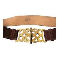Vintage Calderon Handmade Suede Belt with Artisan Brass Buckle