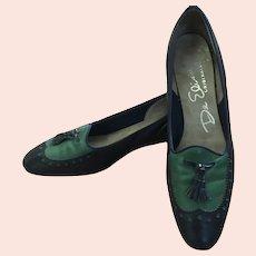 Vintage De Elisse Originals Leather Blue & Green Low Heel Oxfords - 6-6 1/2