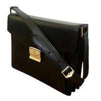 1990s Mark Cross Black Leather Crossbody Box Bag Purse