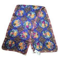 Vintage Perry Ellis NWT Floral Silk Long Scarf