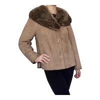1960s Bonnie Cashin for Sills Suede Leather Swing Coat with Fur Collar